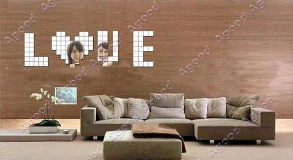 Neuer heißer Verkauf 100pcs 2x2cm Fashion Silber 3D-Wand-Aufkleber ...