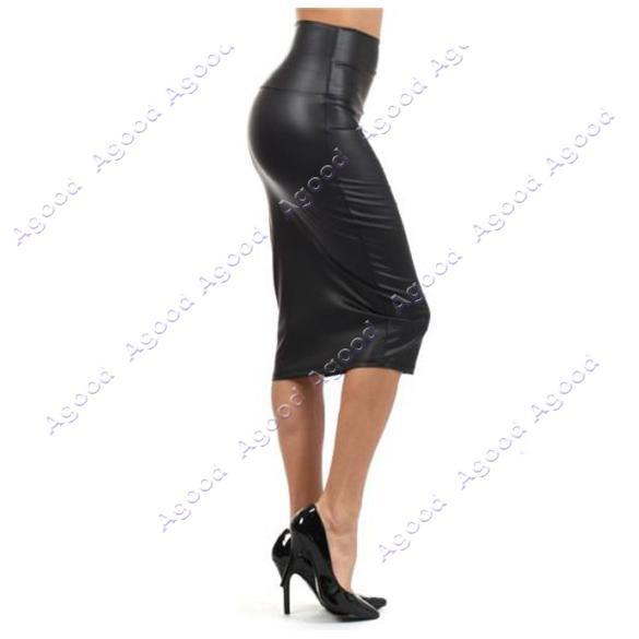 37f305080 Nueva elegante de cuero rojo Negro Mujeres Sexy Faux Falda tubo de talle  alto Debajo Rodilla M / L / XL SV002497 #